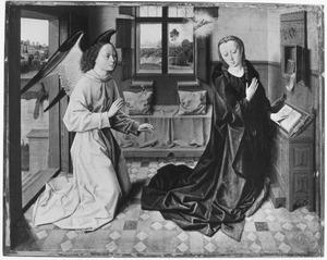 De annunciatie in een gotisch vertrek, met doorzicht naar een landschap