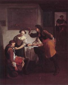 Interieur met twee soldaten en twee jonge vrouwen