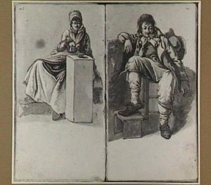 Zittende man en zittende theedrinkende vrouw