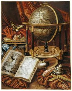 Vanitasstilleven met een globe, een religieus boek, schelpen en koraal