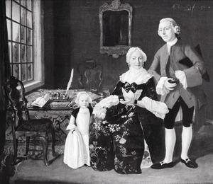 Portret van Nicolaas Faas (1736-1795), zijn vrouw Anna Maria Calkoen (1742-1800) en hun dochter Anthonia Faas (1763-1792)