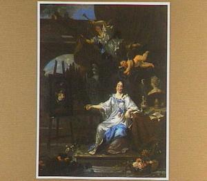 Portret van een vrouw waarschijnlijk Rachel Ruysch (1664-1750), als Pictura