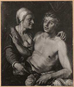Het ongelijke paar: een oude vrouw en een jonge man