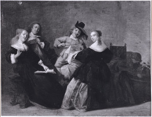 Elegant zingend en musicerend gezelschap in een interieur