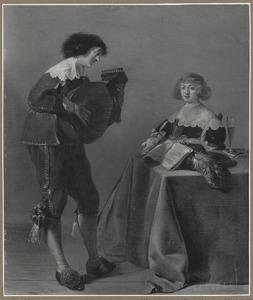Elegant musicerend paar in een interieur