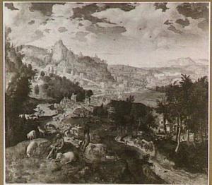 Weids landschap met Mozes en het brandende braambos (Genesis 3:1-2)