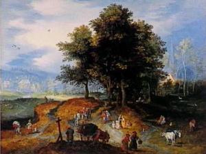 Boeren in een landschap