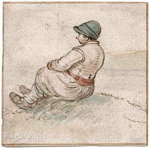 Jongen zittend, op de rug gezien