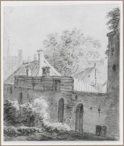 Huizen achter een stadsmuur (Utrecht?)