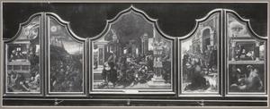 De ontroving van Jobs kudde door de Sabeërs (binnenzijde links), Het feestmaal van Jobs kinderen (midden), Job ontvangt slechte tijding (binnenzijde rechts); De arme Lazarus aan de deur van de slechte rijke (buitenzijde links), De dood van de slechte rijke en zijn straf in de hel (buitenzijde rechts)