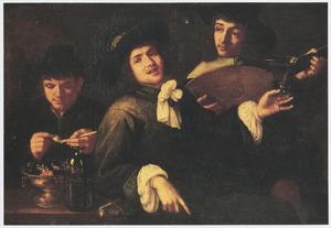 Interieur met drie mannen, die roken, muziek maken en drinken: allegorie op de vijf zintuigen