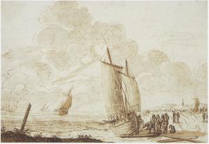 Strandgezicht, met figuren bij een boot