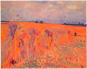 Landschap met korenschoven