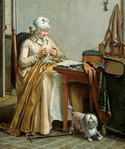Interieur met naaiende vrouw