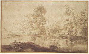 Vervallen huis aan boomrijke waterkant van een rivier