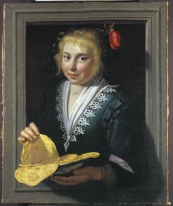 Pannenkoekenmeisje in een venster