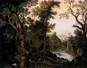 Berglandschap met jagers en ooievaars