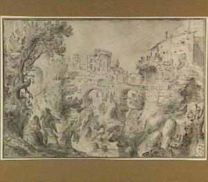 Tivoli, de tempel van de Sibylle en de San Rocco-brug over de Aniene, op de voorgrond: de Rust op de vlucht naar Egypte (?)