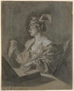 Zingende vrouw bij een klavichord