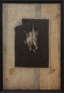 Trompe l'oeil met een stilleven van twee dode patrijzen op een wand