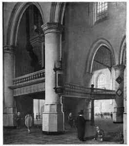 Gezicht op de tribune voor het orgel in de Oude Kerk te Delft