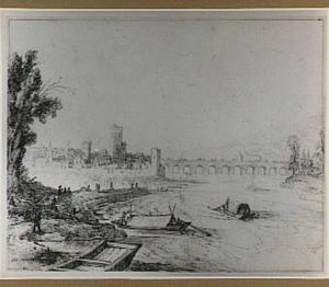 Gezicht op Pont-Saint-Esprit aan de Rhône