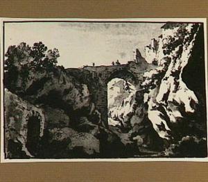 Italianiserend rotslandschap met vervallen brug en ruïnes