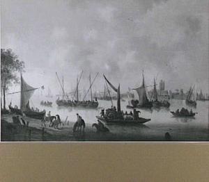 Scheepvaart op de Merwede bij Dordrecht