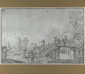 Landschap met varkenshoeder en varkens bij een brug