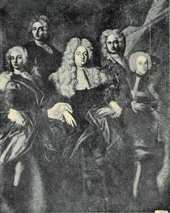 Portret  van Wenzel Josef Graf von Lazanskt (1673-1715) met twee zonen, hun gouverneur en de schilder zelf