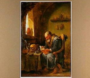 Alchemist in zijn studeerkamer