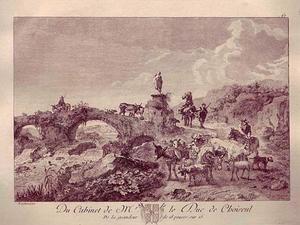 Zuidelijk landschap met vee bij een brug