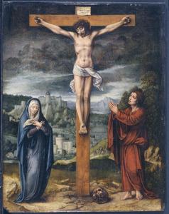 De gekruisigde Christus met Maria en Johannes Evangelista