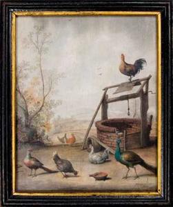 Landschap met vogels, in het verschiet heuvels