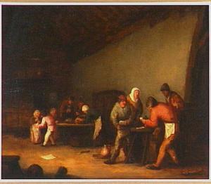 Kaartspelende en drinkende boeren in een interieur