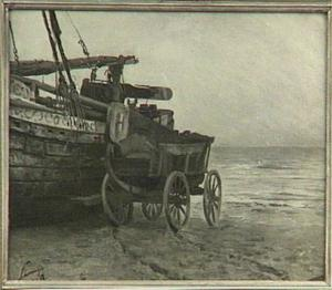 Bom en wagen op het strand te Scheveningen