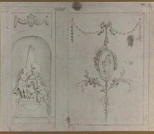 Ontwerp voor een wandindeling met links een nis met putti bij een urn, rechts een vrouwenfiguur met attributen in een medaillon