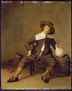 Een jongeman met een steengoed bierkruik