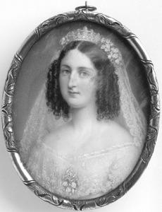 Portretminiatuur van prinses Maria Clementia de Bourbon Orléans als bruid