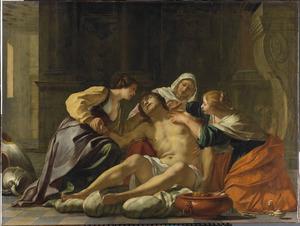 De heilige Sebastiaan door Irene en haar helpsters verzorgd
