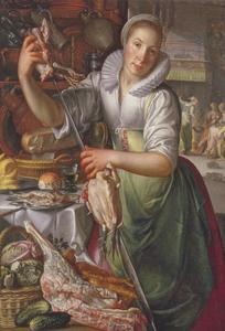 Een Keukenmeid. In de achtergrond: Christus in het huis van Maria en Martha