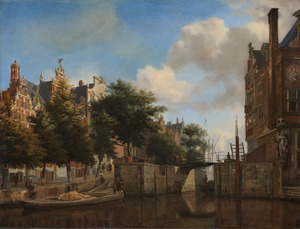 Amsterdams stadsgezicht met huizen aan de Herengracht en de oude Haarlemmersluis