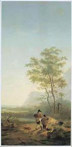 Zuidelijk landschap met koeherders