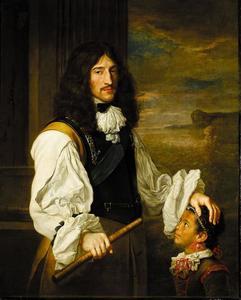 Portret van prins Rupert van de Palts als zee-officier met een klein zwart meisje als page