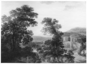 Berglandschap met Diana door Actaeon verrast