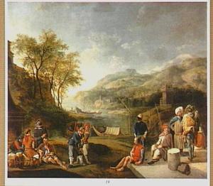 Zuidelijk landschap met oosterse kooplieden en sjouwers bij een aanlegplaats