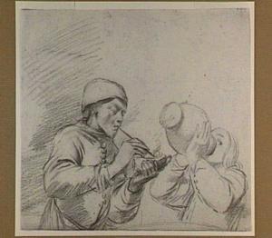 Een rokende en een drinkende jongeman