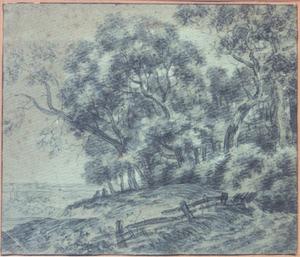 Bosrijk heuvellandschap met hek
