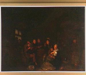 Zogende moeder en andere figuren in een interieur