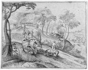 Heuvellandschap met omvallende boerenwagen